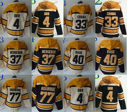 Wholesale Hooded Sweatshirt Xxl - Boston Bruins #4 Bobby Orr #33 zdeno chara #37 patrice bergeron Cheap Hockey Hooded Stitched Old Time Hoodies Sweatshirt Jerseys