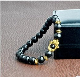 Wholesale hamsa beads wholesale - 2018 New Products Black Snowflake Stone Beads Buddha Hamsa Hand Bracelet, Yoga Meditation Energy Jewelry For Women and Men
