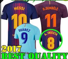 Wholesale Messi Quality Jersey - THAI QUALITY MESSI SOCCER JERSEYS 9 SUAREZ 2017 18 Camisas 11 Neymar A.INIESTA O.DEMBELE 3 PIQUE Soccer Jersey 17 18 Camiseta de futbol