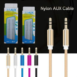 Wholesale Retail Packaging Box Micro Usb - 3.5mm audio cable braided car stereo AUX Cables Auxiliary Male to Male for Samsung MPS with retail box package