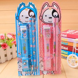 Wholesale Blue Sharpener - 5 Pcs  set Cartoon Stationery Suit 2 Pencils Eraser Sharpener Ruler Student Prize Birthday Gift 2 Colors School Supplies