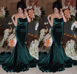 Wholesale Fashion Events - 2017 Sweetheart Mermaid Evening Dresses Dark Green Velvet Formal Long Prom Gowns Woman Pageant Event vestidos de festa