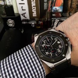 Wholesale Offshore Strap - AAA Luxury Brand Sport Mens Watch Chronograph Stopwatch Royal Oak Offshore Fashion Men Watches Rubber Strap Wristwatch