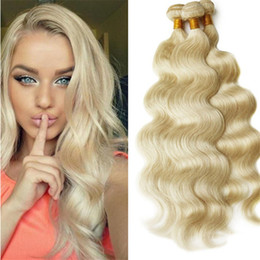 tramas de pelo ruso virgen Rebajas 613 Russian Blonde Virgin Virgin Weaves 3 Bundles Body Wave Human Hair # 613 European Hair Doble tramas No Tangle No Shed