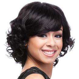 Wholesale Wigs Bob Cut - Hot selling bob short wave wigs Simulation Human Hair short cut bob wave wigs with bangs
