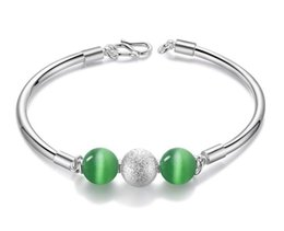 Wholesale Fine Food Gifts - Fashionable Design style 925 Silver Plate Beads Fine Jewelry Bracelet Bangle Top Quality For Woman Best Gift AA296