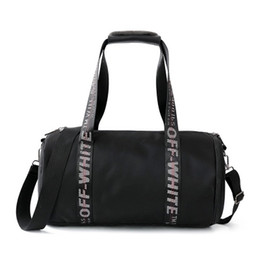 Wholesale Blue White Striped Handbags - Fashion Men Women Handbags Love Off white Large Capacity Travel Duffle Striped Waterproof Beach Bag Shoulder Bag