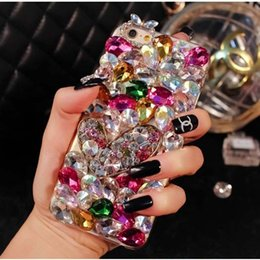 Wholesale Diy Phone Cases Rhinestone - Luxury Colorful Stone DIY Full Big Diamond Bling Case for iPhone 4S 5S 6S plus 7 7plus phone case Glitter Rhinestone Crystal Cases