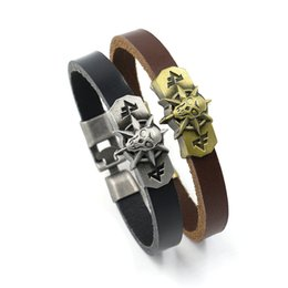 Wholesale American Animation - New Skeleton Genuine Leather Bracelets Men Cool PunK Gothic Charm Bracelets Hot Animation Around Cuff Bangles For Men Women Jewelry Gifts