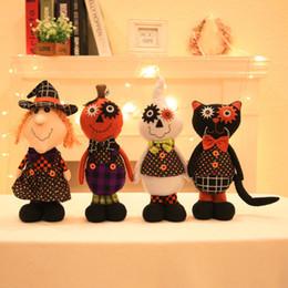 Wholesale Soft Ornaments - 1PC Halloween Ornaments Standing Black Cat Pumpkin Dolls Plush Toys soft toy Stuffed halloween gift Decoration Plush Toys