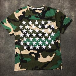 Wholesale Butterfly S - Hot sell 2017 fashion brand Mens camouflage stars T-shirts Men Short Sleeve Casual tshirt Tee Tops Mens back butterfly printing tee