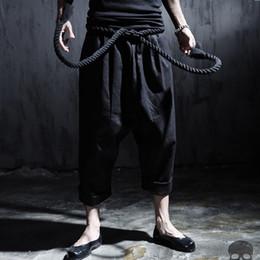 Wholesale Male Ropes - Wholesale-Men linen casual pant rope belt punk rock big crotch pants male ankle length trousers street fashion vintage harem pant,Q87