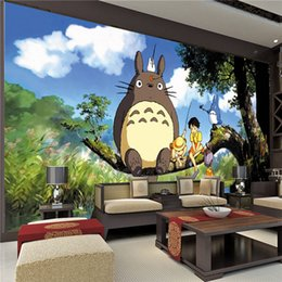 Wholesale Japanese Mural - Cute Japanese anime Totoro Wall Mural Silk Wallpaper Custom Large Photo Wallpaper Art Room decor Kid's room Ceiling Bedroom