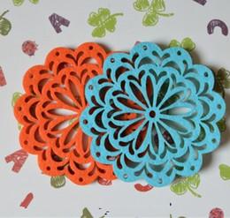 Wholesale Orange Coasters - Wholesale- 6pcs hollowed flower non-woven coaster blue orange violet felt placemats mix colors
