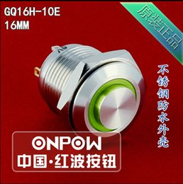 Wholesale Stainless Momentary Switch - Wholesale-ONPOW 16mm 6V RGB Momentary ring LED High round Stainless steel Push button switch (GQ16H-10E J) CE,ROHS