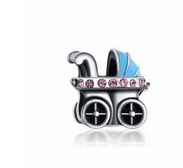 Детская коляска коляска Серебряная эмаль Шарм бусины кулон Fit Европейский Pandora подвески стерлингового браслет ожерелье женщины ювелирные изделия от