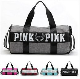 Wholesale Striped Beach Bags Wholesale - HOT Women Handbags Pink Letter Large Capacity Travel Duffle Striped Waterproof Beach Bag Shoulder Bag 30pcs free ship