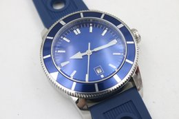 Wholesale Mechanical Chronograph Watches - Luxury brand Mens Superocean Heritage Blue Dial Date Rubber Belt stainless steel Sport Chronograph Watch Men rubber belt Dive Wristwatch