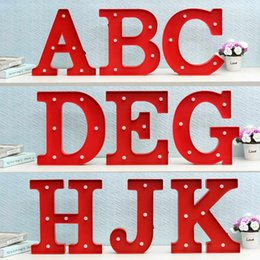 Wholesale Wholesale Alphabet Wall Letters - Wholesale- Wall Lamp LED Night Light Lamp Kids Marquee Letter Lights Vintage Alphabet Light Up Christmas Party Battery Operated