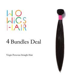 Wholesale Wholesale Virgin Burmese Hair - Wholesale-WoWigs Hair Unprocessed Peruvian Virgin Hair Straight 4Pcs Lot, Virgin Peruvian Straight Hair Weaves Bundles Wholesale