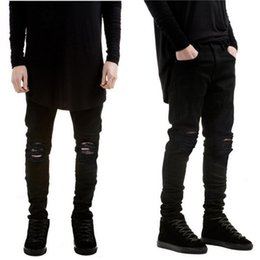 Wholesale famous black holes - Wholesale-2016 New Black Ripped Jeans Men With Holes Denim Super Skinny Famous Designer Brand Slim Fit Jean Pants Scratched Biker Jeans