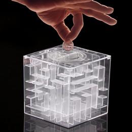 Wholesale Maze Saving Box - Wholesale- 1pcs New Maze labyrinth Money Maze Bank Saving Collectibles Case Coin Gift Box case 3D Puzzle Game Wholesale