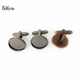 Wholesale Cuff Blanks - BoYuTe 20Pcs 7 Colors Round 12MM 14MM 16MM 18MM 20MM Cabochon Base Cufflinks Blank Tray Bezel Diy Jewelry Findings Components