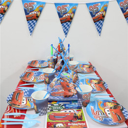 Wholesale Wholesale Party Paper Cups - Wholesale- 112pcs\lot Cars Flags Kids Favors Cups Decoration Paper Plates Napkins Baby Shower Dishes Birthday Party Tablecloth Supplies