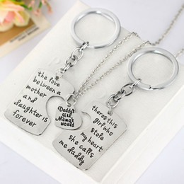 Wholesale Mother Daughter Jewelry Pendants - Wholesale-3pcs Dad Daughter Mother Pendant Necklace Keychain Family Mother's Day & Father's Day Keyring Gift Jewelry Father Mom Necklaces