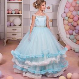 Wholesale Little White Corset Wedding Dress - Sparkly Corset Ball Gown Flower Girls Dresses for Girls Glitz Long Prom Dresses Kids Tiered Blue Little Girls Dresses 2017