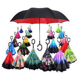 Wholesale Beach Umbrella Fabric - Creative Inverted Shade Umbrellas Double Layer With C Handle Inside Out Reverse Windproof Colorful Rainy Sunny Beach Umbrella