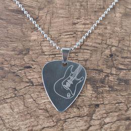 Гитара выбрать кулон ожерелье цепь металл для электрогитары бас-Серебряный от Поставщики большая пластиковая оболочка