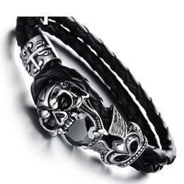 Wholesale Bracelets Ideas - Personality titanium steel jewelry bracelet rock fashion ideas devil skeleton leather bracelet