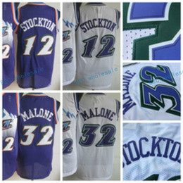 Wholesale Retro Shirts - Men Retro 32 Karl Malone Jersey Uniform Rev 30 New Material 12 John Stockton Throwback Shirt Breathable Home Alternate Purple White