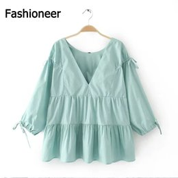 Wholesale Ladies Backless Blouse Style - Fashioneer Cut Blouse Bow Tied Half Sleeve Shirt Pleated Hem Backless O-Neck Pullover Loose Lolita Style Sweet Women Tops Brand For Ladies