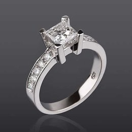 Wholesale Diamond Accent Rings - VS 1.5 CT GENUINE PRINCESS CUT WITH ACCENTS DIAMOND 14K WHITE GOLD WEDDING RING