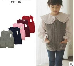 Wholesale Girls Pink Coat Bow - Baby boys Girls waistcoat 2017 new children knitting sweater vest tops toddler kids bows double pocket waist coat girls autunm outwear T4007