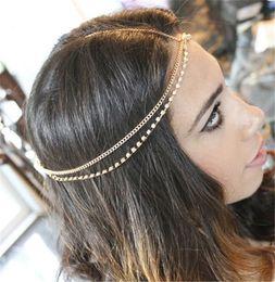 Nueva moda Rhinestone Headpiece oro cabeza cadena cabeza pieza joyería Boho bohemio estilo gitano boda Tiara diadema joyería MY-082 desde fabricantes