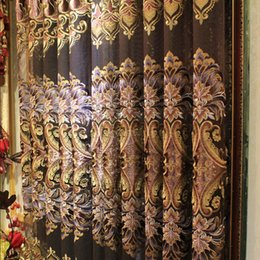 Wholesale Luxury Velvet Embossed Embroidered Curtains Drapes Living Room Curtains Valance Curtain Elegant Per Meter Gauze Curtains
