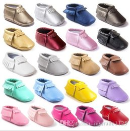 Wholesale Hot Candy Shoes - 20 colors Hot selling new arrivals soft sole PU leather baby first walker shoes newborn shoes maccasions princess candy colors tassel shoes