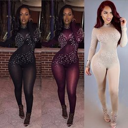 Wholesale Leotard Mesh - 3 color Women Sexy Nude Rhinestone Mesh Jumpsuit 2016 Fall Fashion Colorful Crystals Sparkling Diamond Rompers Dance Party Club Leotard