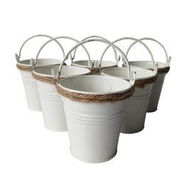 Wholesale White Metal Buckets - D7*H7CM white color Party Favor Metal mini Pail Tin bucket Rustic Succlents Pots Decorative Galvanized Meat plant pot Iron pots