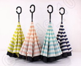 Wholesale Sky Umbrellas Wholesale - Navy Stripe Inverted Umbrellas C-shape J-shape Handle Waterproof Double Layer Reverse Car Umbrella Paraguas Rain Umbrella 4 colors OOA909