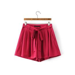 Wholesale Dance Pants Skirts - Europe In Summer 2017 Fashion Couture Bow Pleated Waist Slim Casual Pants Bermuda Shorts Plus Size women shorts dance shorts women