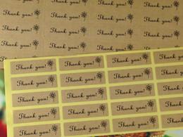 Wholesale custom sticker labels logo - Wholesale- Free shipping Kraft Sticker Labels 1200pcs lot Thank You kraft sticker labels Sealing adhesive labels Custom Logo Cost Extra