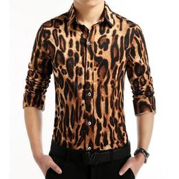 Wholesale Leopard Print Dress Shirt Men - Wholesale- 2016 Fashion Brand Leopard Print Men Shirts Casual Camisa Masculina Social Chemise Homme Korean Style Slim Dress Shirt 4XL 5XL