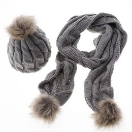 Wholesale Girls Ladies Knitted Scarves - Fashion Street Hats Beanie Women Ladies Girls Hat Scarves 2PCS Sets Winter Warm Hats Tight Wool Plain Soft Knitted Hat Wholesale 368