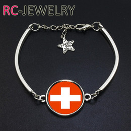 Wholesale Wholesale Team Flags - 2017 Fashion Jewelry Switzerland football team Flag bracelet Hand-made World Cup Alloy bracelet Bracelet Bangle
