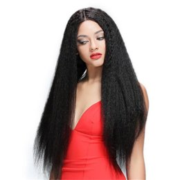 Wholesale 28inch Long Wigs - Fashion indian hair wig 1b kinky straight human hair 28inch front lace wig natural hairline free shipping