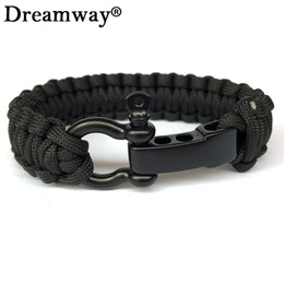 black paracord charms Promo Codes - Wholesale- New Braided Pulseras Outdoor Camping Rescue Paracord Bracelets Parachute Cord Men Emergency Black Survival O+T Stainless Buckles